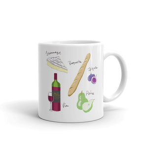 French food ingredients mug brie fromage baguette figs pear wine