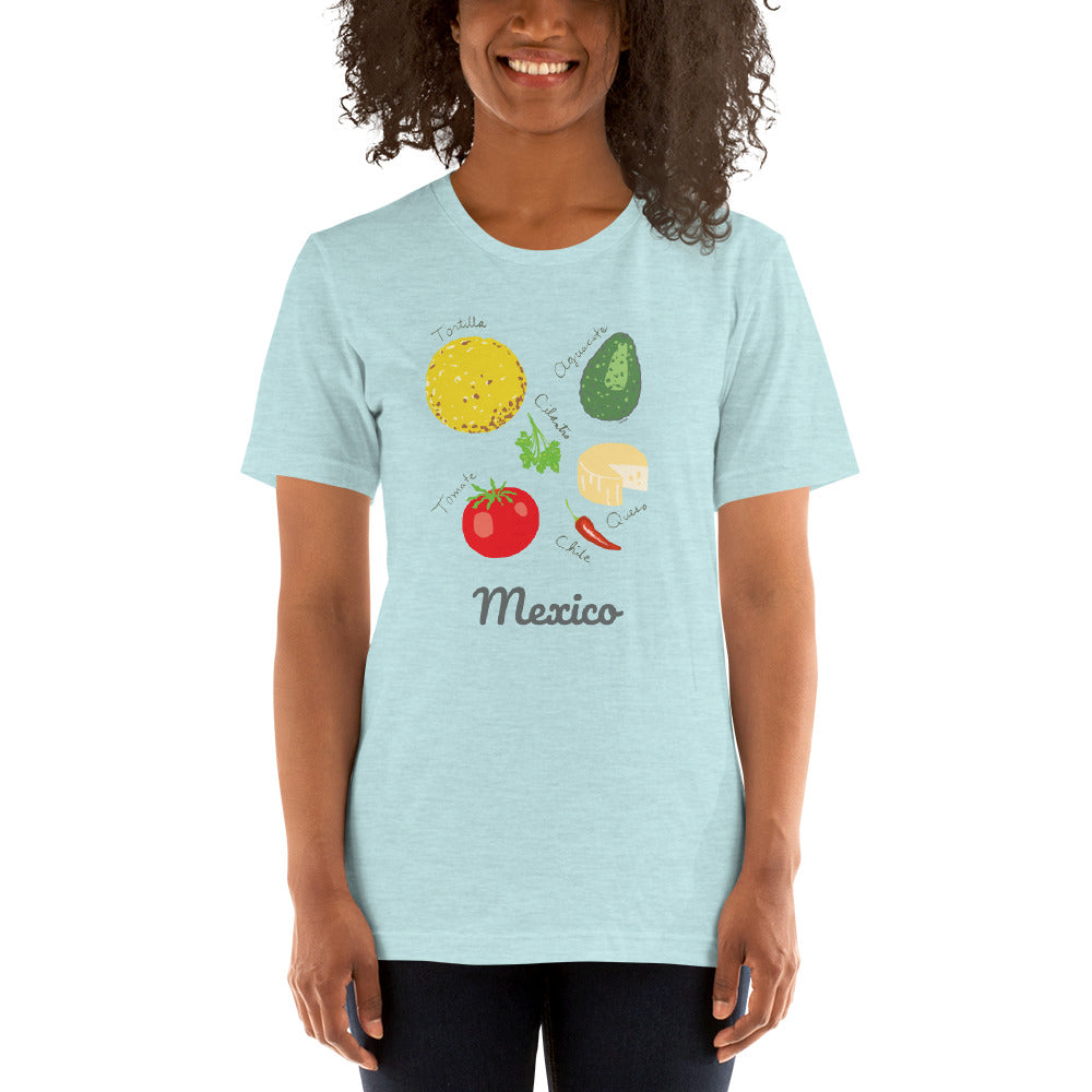 Mexico food lover t-shirt tortilla chile pepper queso cilantro avocado