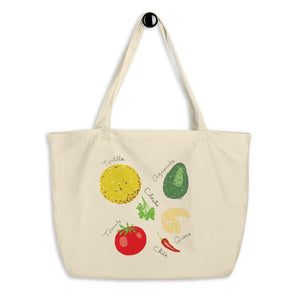 Mexican Food Ingredients Large Organic Cotton Tote Bag