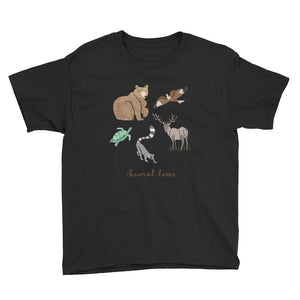 Animal Lover Bear Lemur Deer Elk Hawk Turtle boys and girls black t-shirt