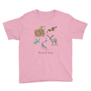 Animal Lover Bear Lemur Deer Elk Hawk Turtle boys and girls pink t-shirt
