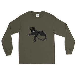 Black Panther Long Sleeve Jersey Knit Cotton T-Shirt