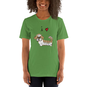 I Love Lhasas/Shih-Tzus Short-Sleeve Women's and Men's T-Shirt