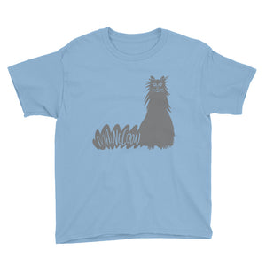 Gray Maine Coon Cat Kids' Short Sleeve T-Shirt