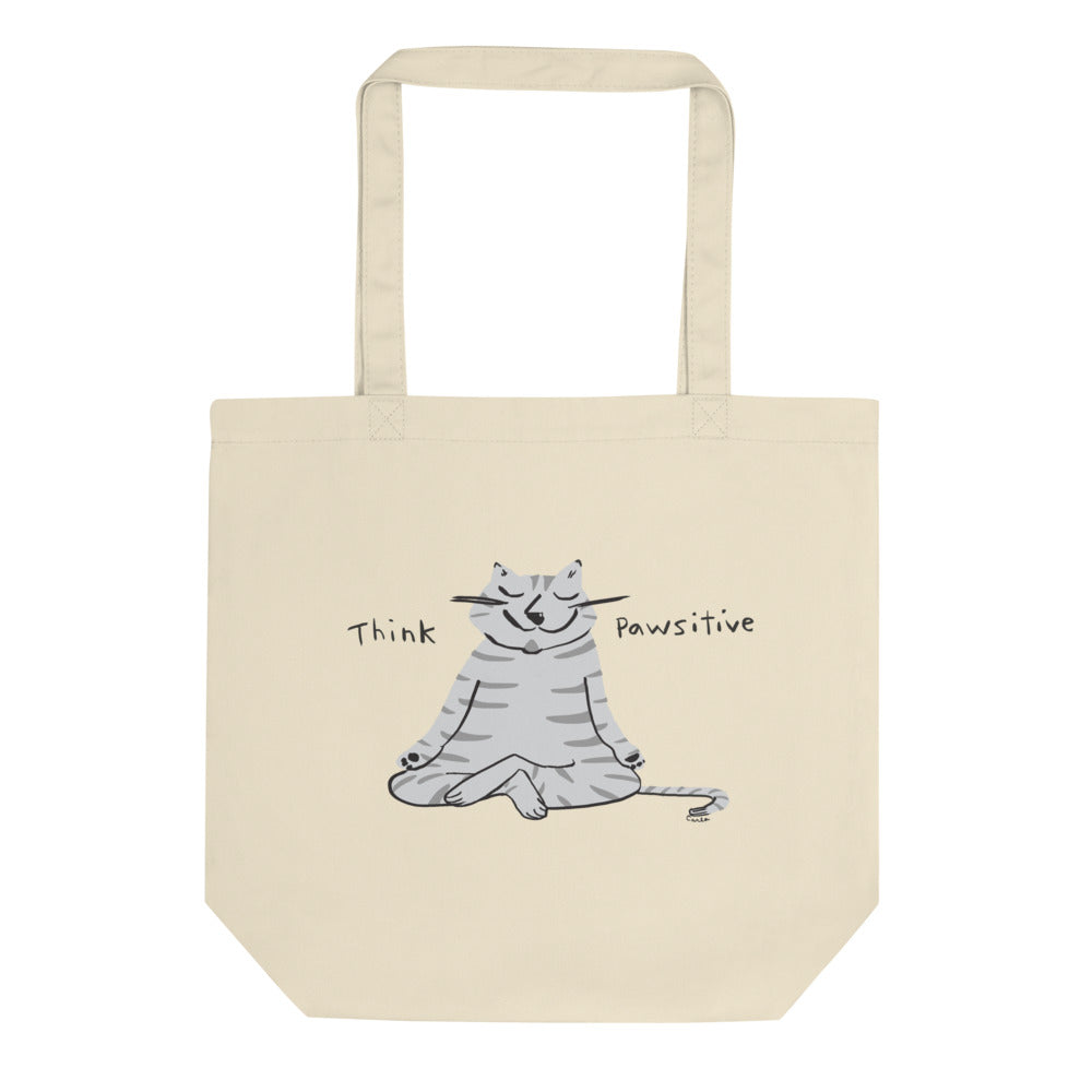 Think Pawsitive gray cat tote bag
