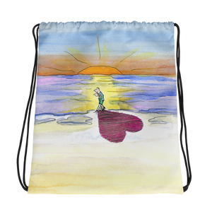 In Love at the Beach Drawstring Bag
