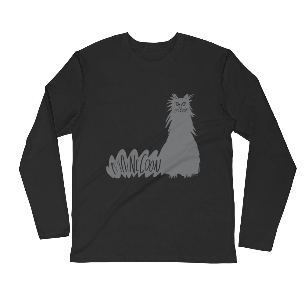 Grey Maine Coon Cat Black t-shirt