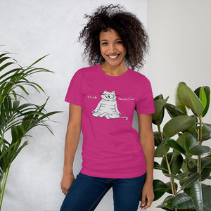 Gray cat meditating Think Pawsitive shirt