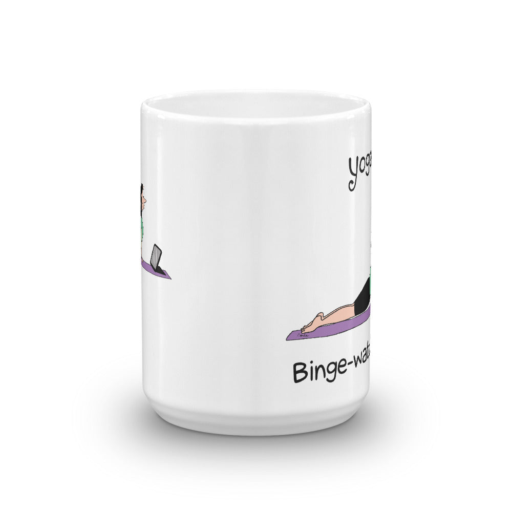 Yoga 101 Binge Watching Pose White Glossy Mug