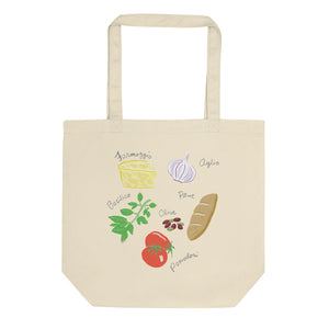 Italian food ingredients organic tote bag formaggio garlic basil san marzano tomato olives