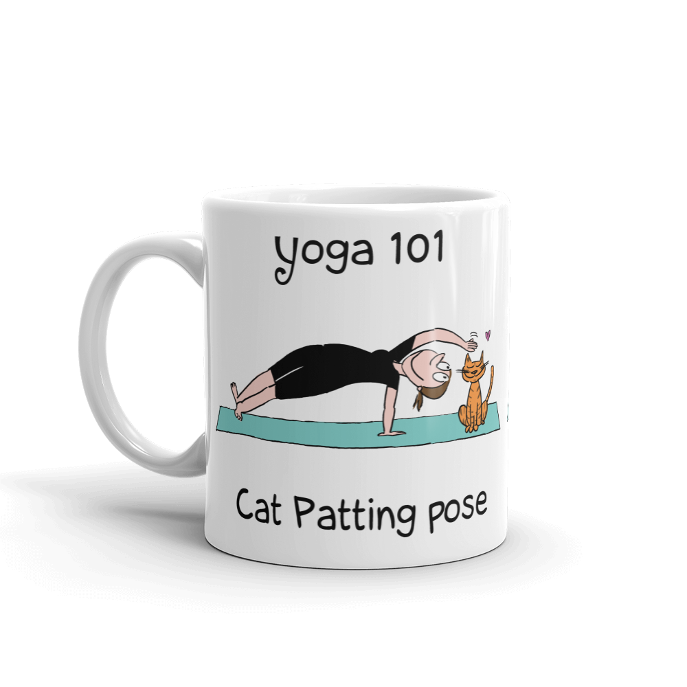Yoga 101 Cat-Patting Pose Coffee Mug
