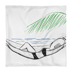 Beachside Hammock in Paradise Customizable Coastal Pillow Case