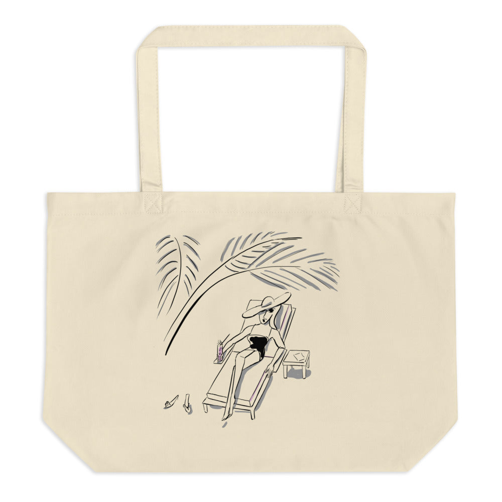 Under the Palm Leaves Large organic tote bag