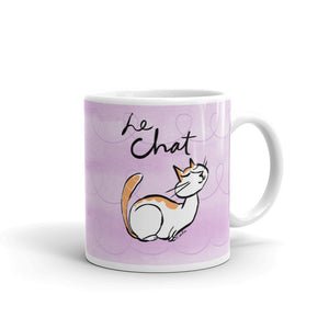 French Cat Le Chat White Glossy Mug
