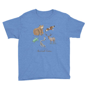 Animal Lover Bear Lemur Deer Elk Hawk Turtle boys and girls blue t-shirt