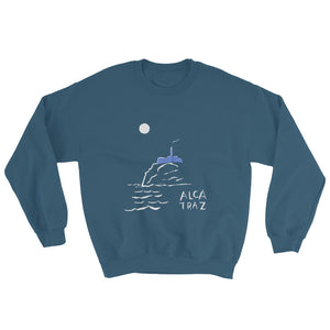 Alcatraz Island night tour mens womens blue sweatshirt