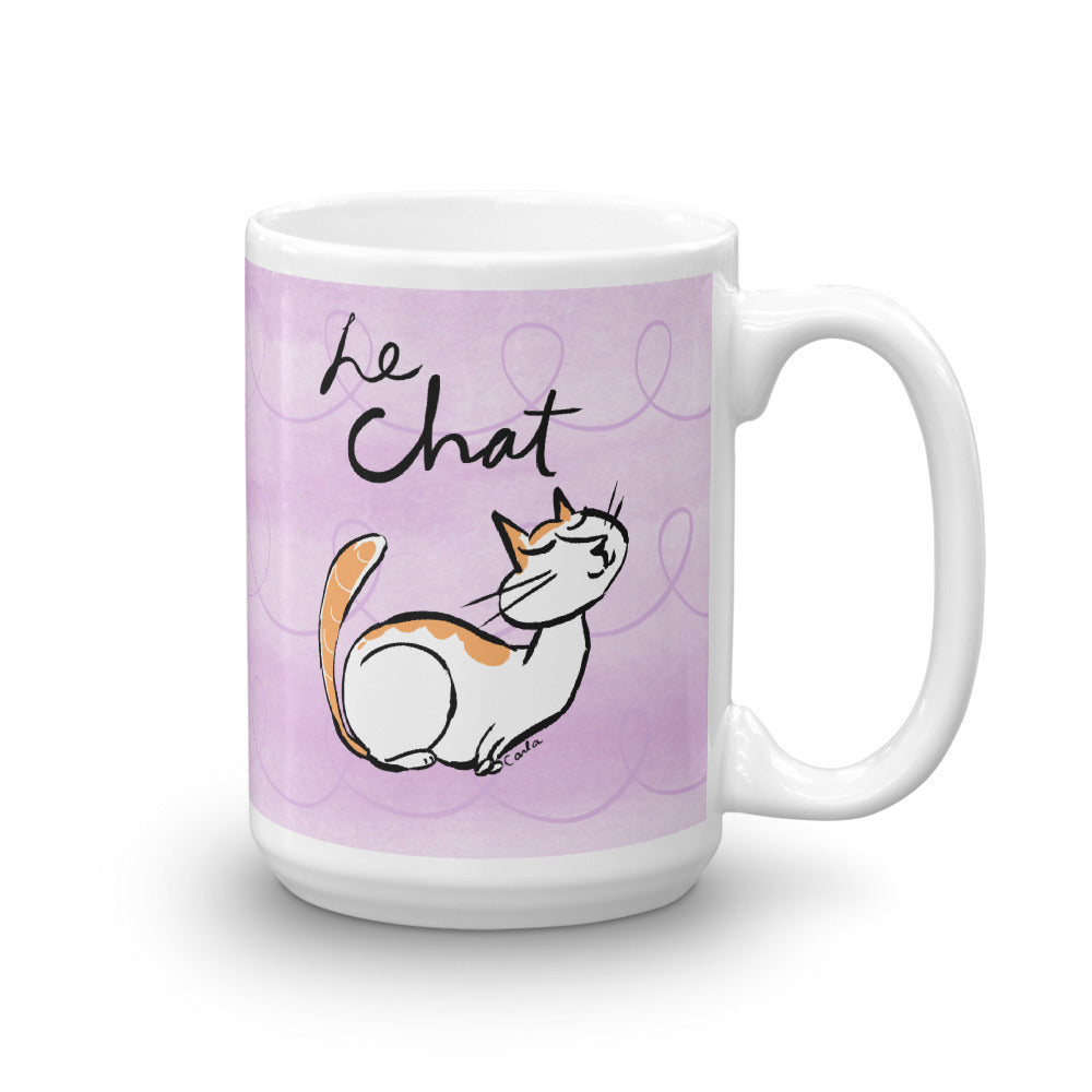 Cat in Languages Le Chat White Glossy Mug