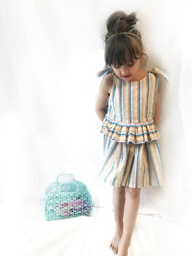 Little girls Tie shoulder ruffle dress in pastel striped madras cotton - Fauves Kids