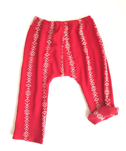 Girs Harem Pants In Red - Fauves Kids