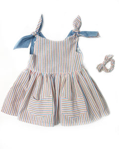 Tie shoulder madras cotton dress - Fauves Kids