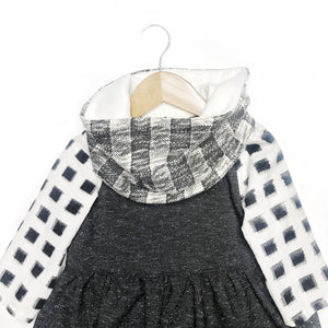 Childrens Plaid knitted neck warmer scarf