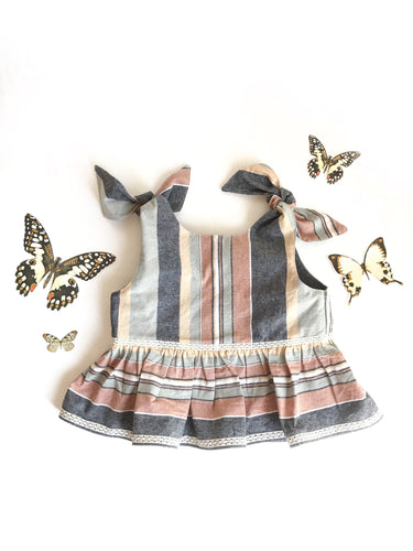 Emily tie shoulder with ruffle top in neutral stripes - Fauves Kids