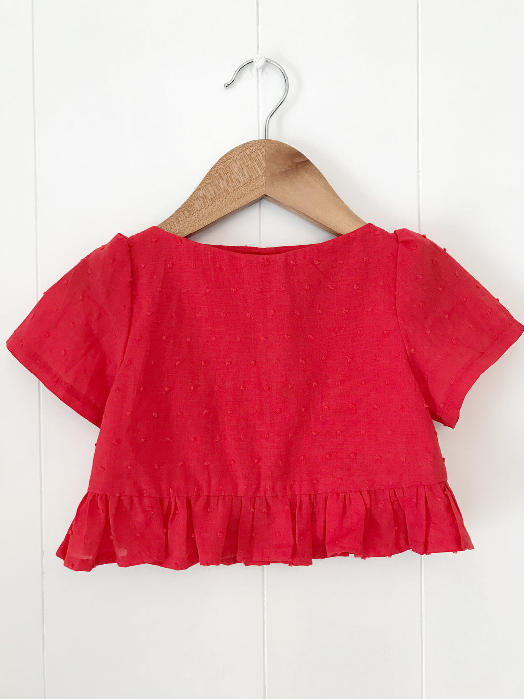 Dottie single Ruffle crop top in red - Fauves Kids