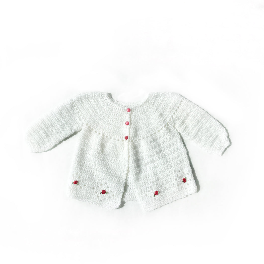 Sweet white pearl yarn cardigan - Fauves Kids