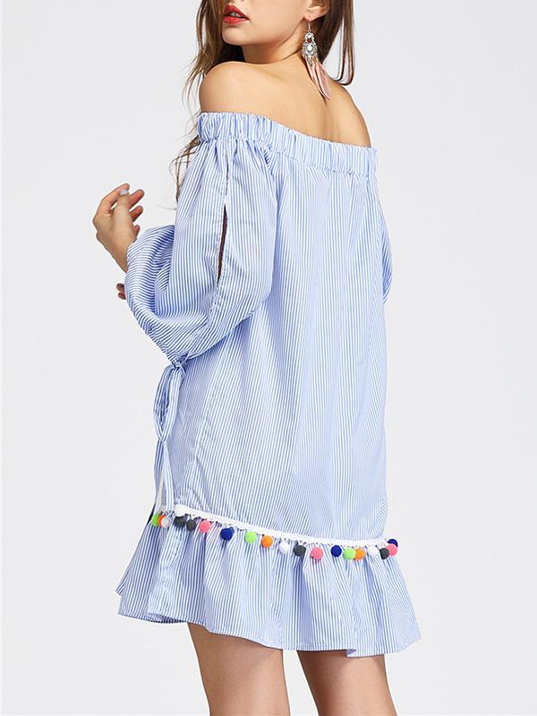 1655039681 ... Load image into Gallery viewer, Off-Shoulder Leader With Tassel Striped  Loose Mini Dress