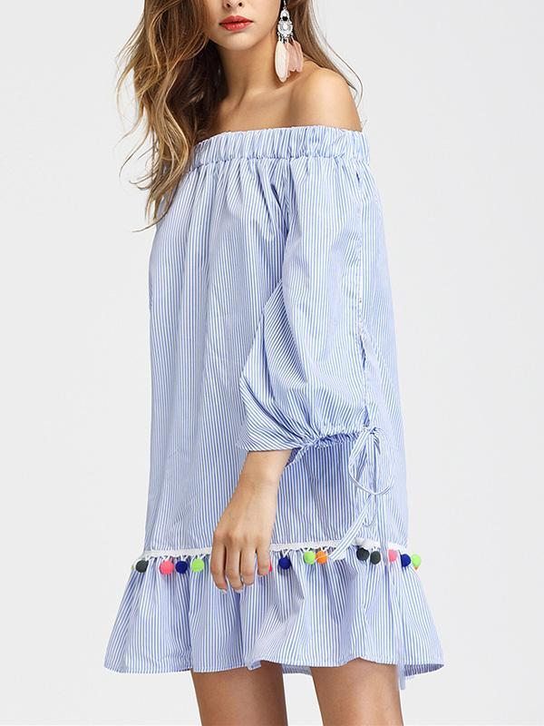 c6ea8535ab ... Load image into Gallery viewer, Off-Shoulder Leader With Tassel Striped  Loose Mini Dress ...