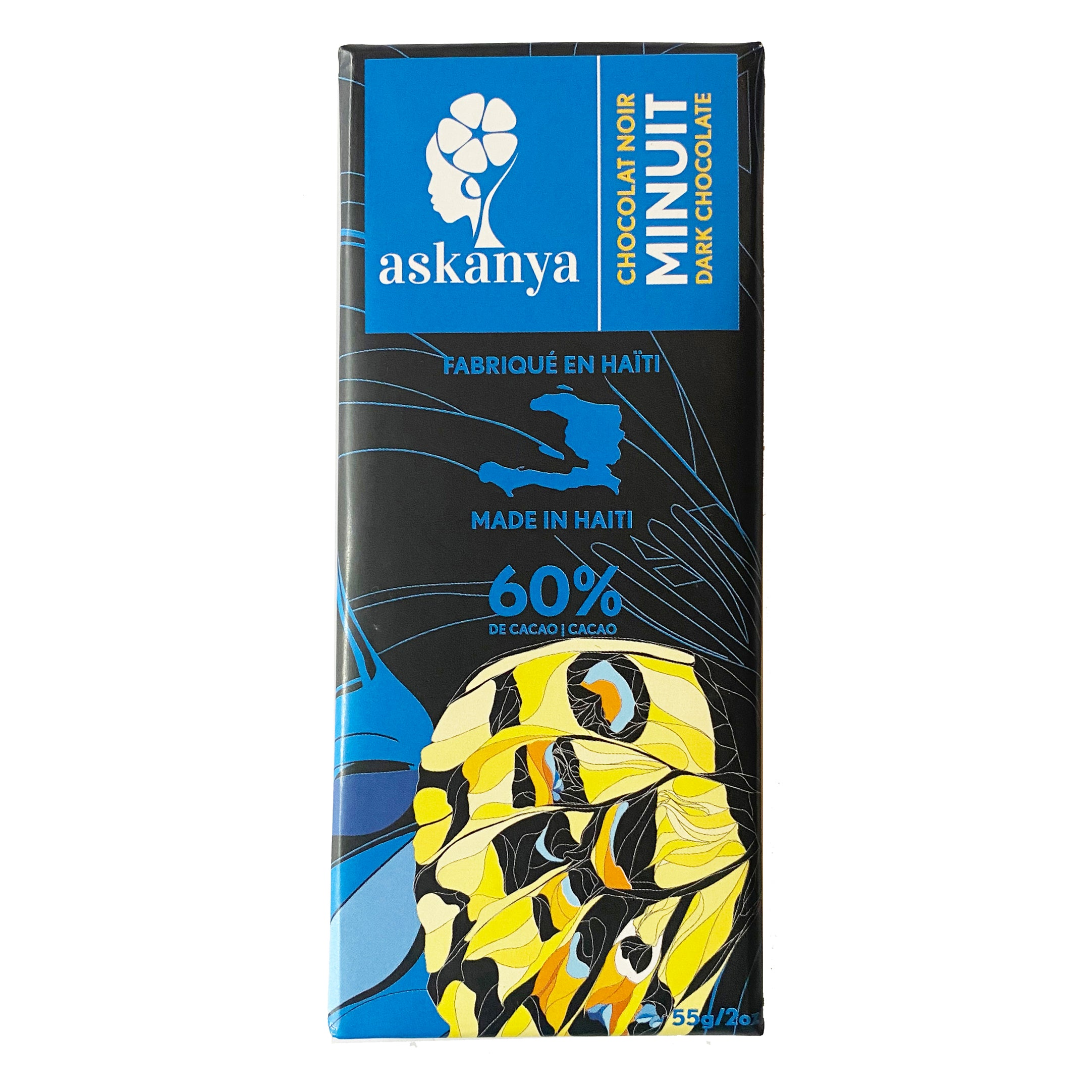 "Black  packaging with yellow, orange, black and blue butterfly's wing (Haitian butterfly). Sticker with company logo (Askanya) and chocolate flavor information - Dark Chocolate  called ""Minuit"". Packaging also shows Haiti country map and cacao percentage of chocolate bar: 60%. Chocolate bar is 55g or 2oz."
