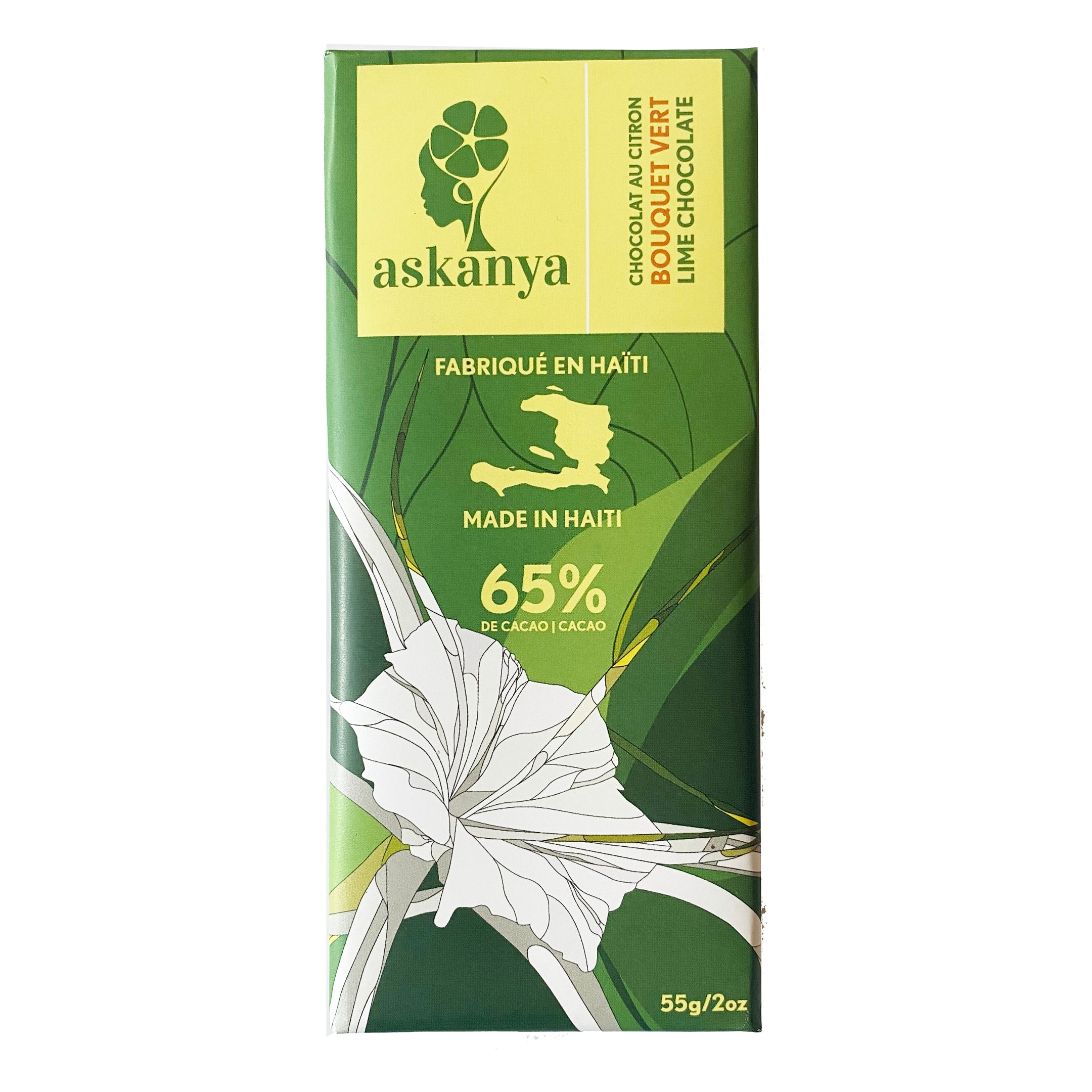 "Green packaging with white lily (Haitian flower). Sticker with company logo (Askanya) and chocolate flavor information - Lime Chocolate  called ""Bouquet Vert"". Packaging also shows Haiti country map and cacao percentage of chocolate bar: 65%. Chocolate bar is 55g or 2oz."