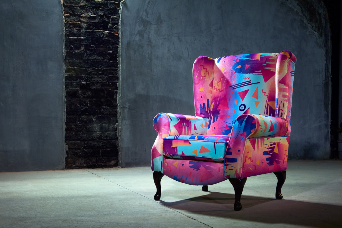 bright retro print high back chair