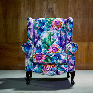 Cactus Print Accent Chair
