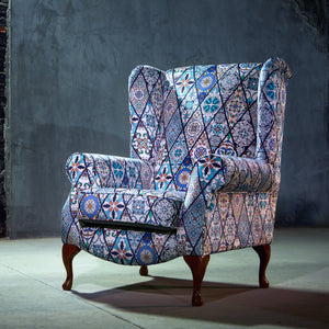 Traditional Blue Accent Chair