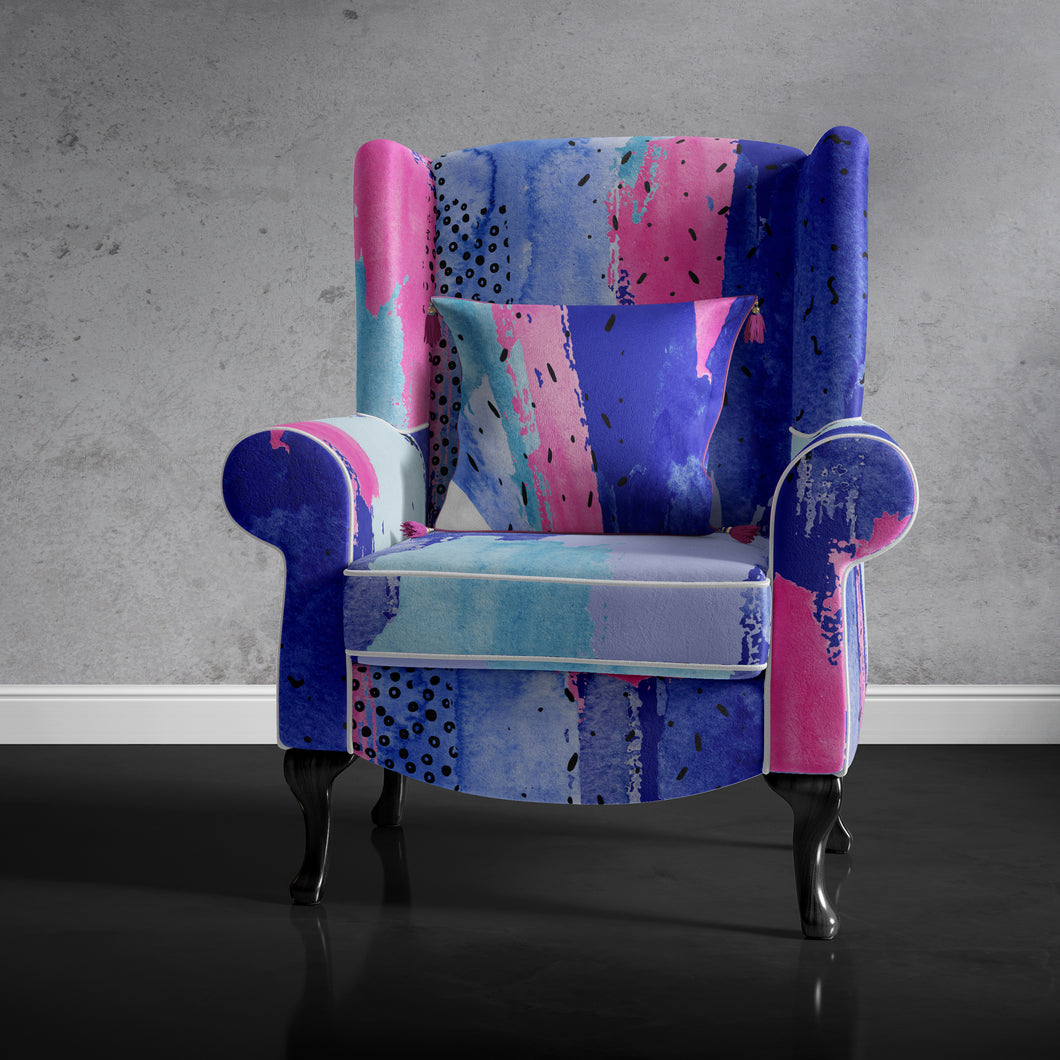 Pink and Blue Retro Accent Chair