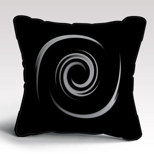 Black Whirl Cushion by Michael Banks