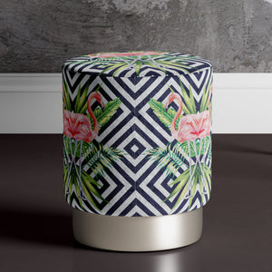 Large Flamingo Print Pouffe
