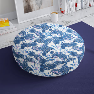 Blue Botanical Floor Stool