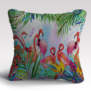 Flamingo Print Cushion