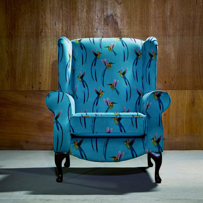 Blue Hummingbird Accent Chair