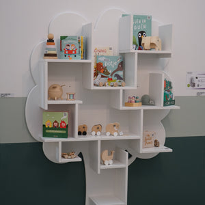 Small white tree bookcase by Mathy Bols