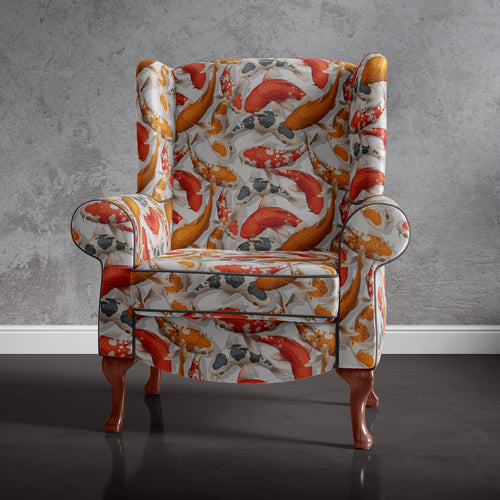 Koi Print Accent Chair