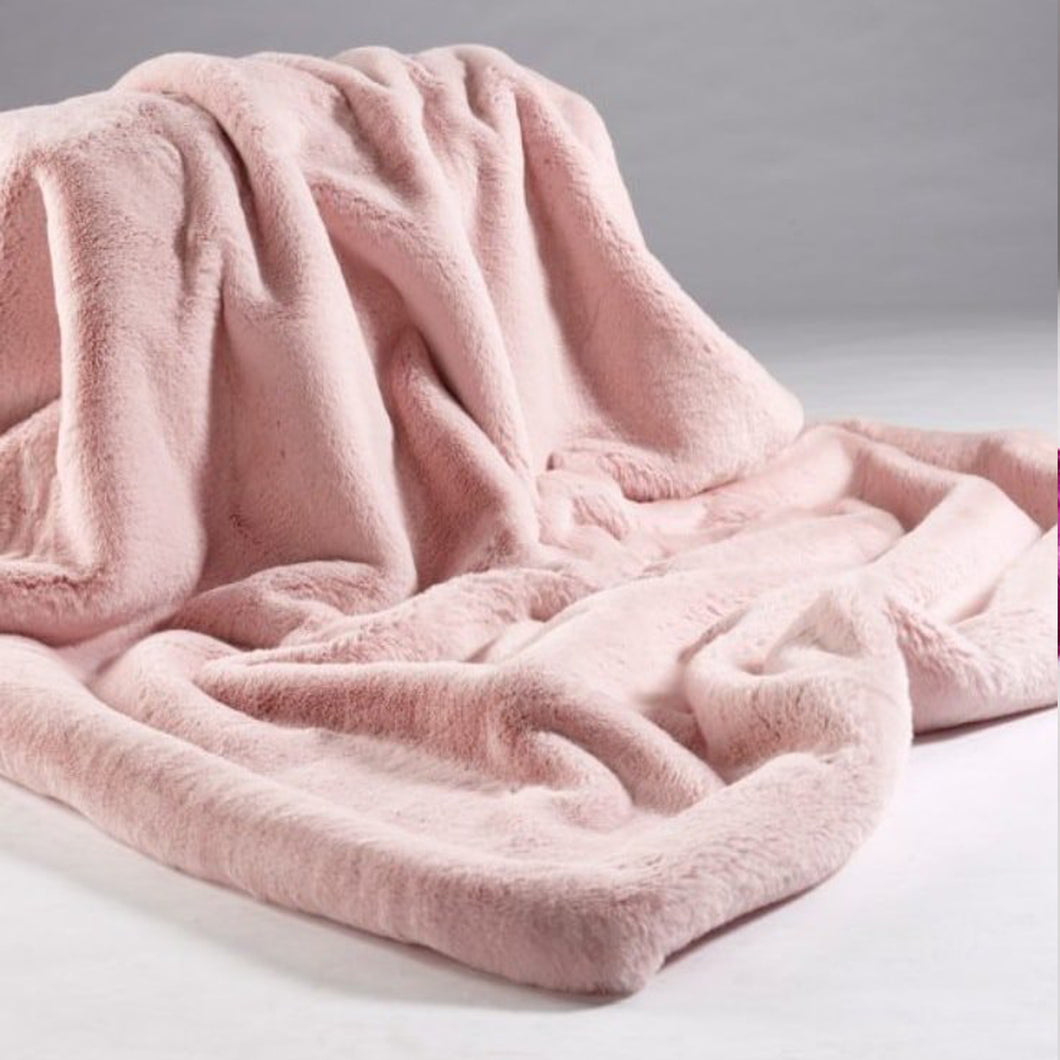 Baby Pink Faux Fur Throw