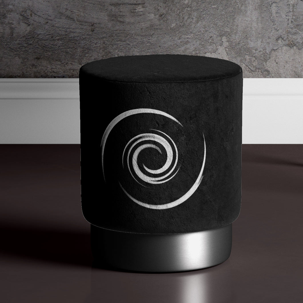 Black Whirl Pouffe by Michael Banks