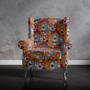 dog print accent chair