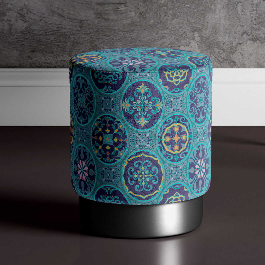 Large Spanish Print Pouffe