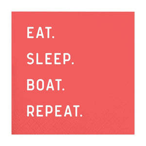EAT SLEEP BOAT REPEAT Beverage Napkins