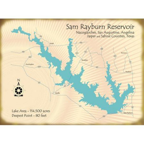 Sam Rayburn Lake Texas Map