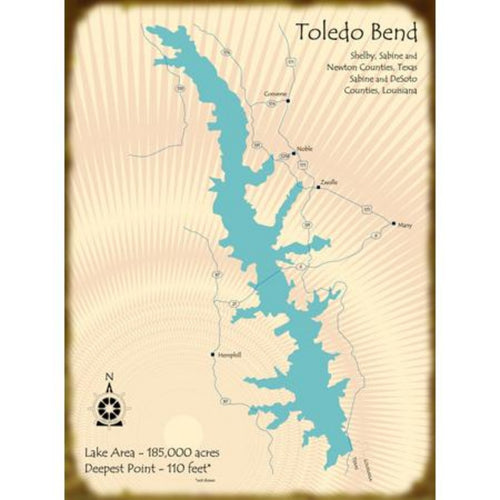 Toledo Bend Lake TX/LA Map